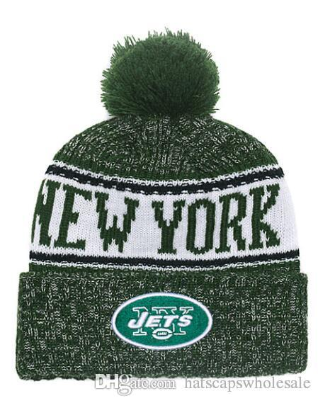 Wholesale New Pom Poms Men Women Winter Hats Sport NY Jets Beanies Fashion  Knitting Hat Brand Thick Female Warm Caps 0ed26db88e2d