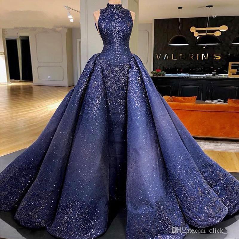 Dubaï arabe bleu marine robes de soirée avec détachables Train à grande cou Paillettes Robe De Appliques Soiree longue robe de bal Celebrity Robes