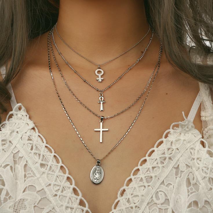 Кулон Ожерелья Мода Многослойный крест Девы Мэри Серебряные Цветные Цепи Металлические Ожерелье Крусикс Ювелирные Изделия