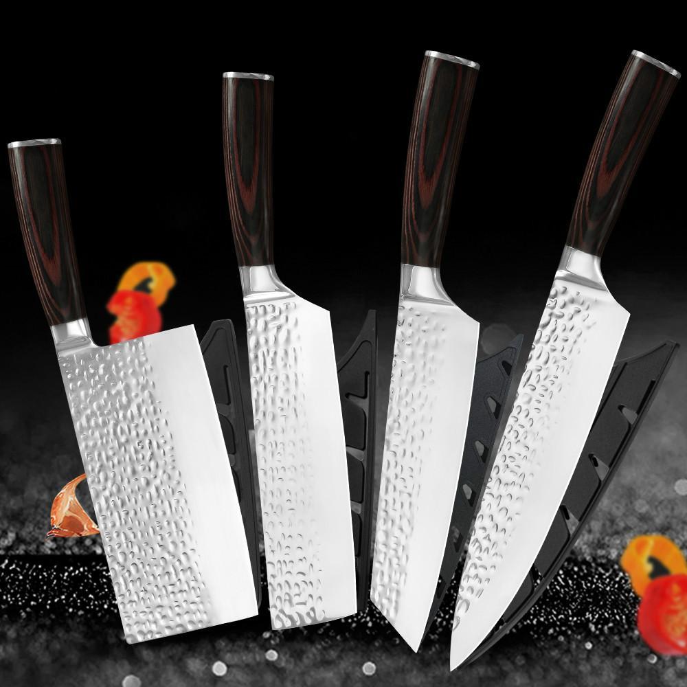 Acciaio inossidabile Coltello da cucina Set 4 Pz Set Cleaver forgiata Handmade Crepe Anti-alimentari Sticks Lama Nakiri lama del cuoco unico guaina di copertura regalo