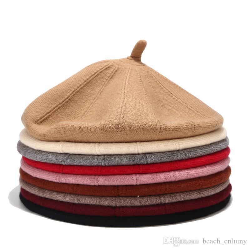 Kadınlar Sonbahar Kış Bereliler Şapka Moda Şık Şapka Yün Örgü Sweet Bereliler Katı Renk Kadın Bonnet Cap Aksesuarlar Isınma Caps