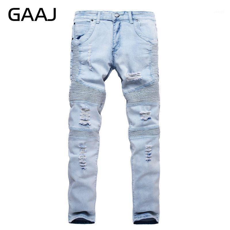GAAJ 2018 Uomo Jeans Distressed elastico sottile denim Biker Hip Hop Strappato casual jogging Skinny Black Light Blu Jean # HJC2X1