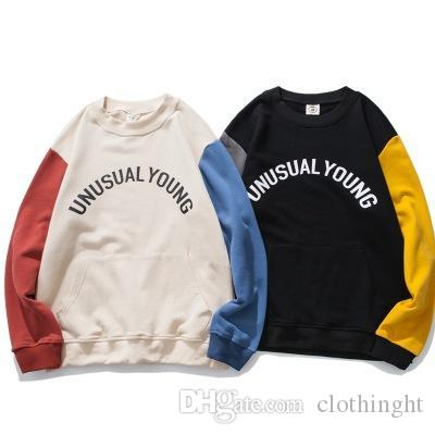 2019 fashion Hoodies Sweatshirts Autumn new round neck pullover sweater men's Japanese retro trend hit color casual long-sleeved jacket