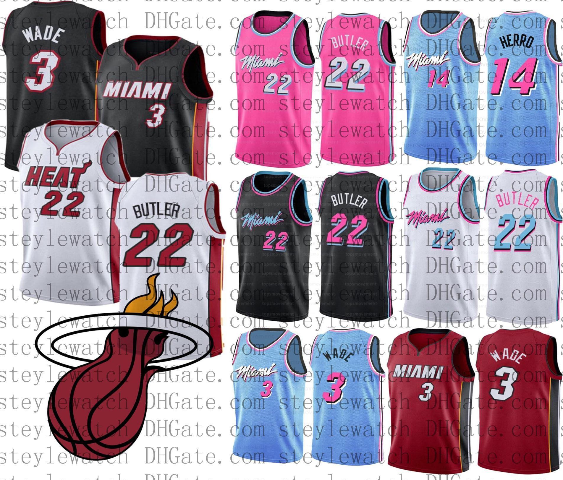 New Mens College Basketball Jersey Jimmy 22 Butler Dwyane Wade 3 14 HerroMiaminbaHitze Goran Kendrick Rosa Blau Shorts Trikots