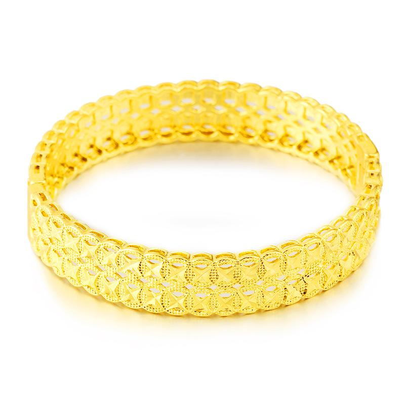 Модный женский браслет Openable Твердые ювелирные изделия 18K желтое золото Заполненного Классического Стиля женщины Браслета Daily Wear