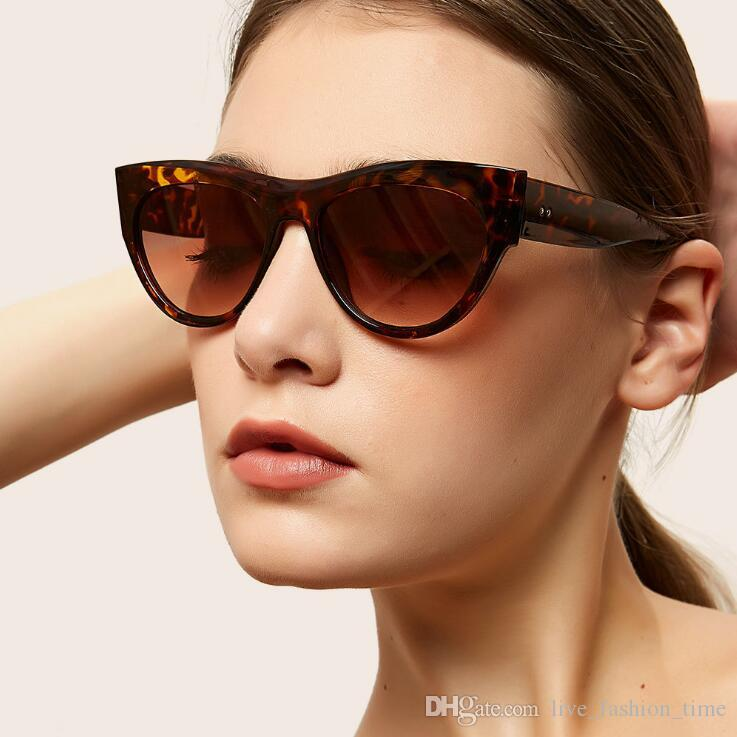 2019 neue Weinlese-Marke Design Damen-Katzenaugen-Gläser Frauen-Mädchen-große Feld-Sonnenbrille für Frau Vintage-Brillen Shades feminino UV400