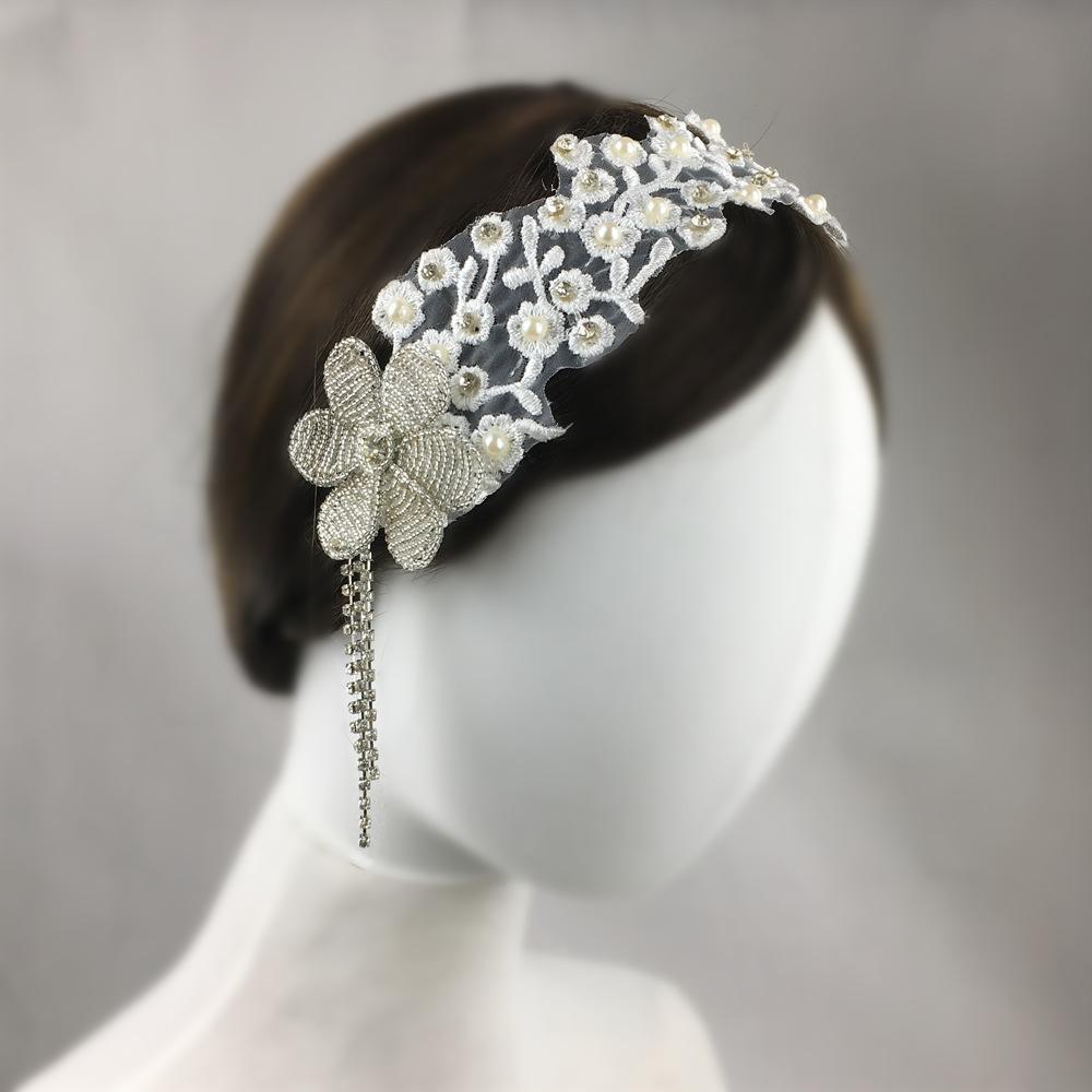 Boncuklu Gelin Başlığı Düğün Saç Aksesuarları Kristal Işlemeli Dantel Bandı Kadın Saç Takı Bijoux Cheveux WIGO1361