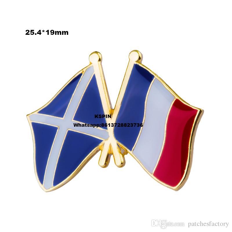 Escócia França Bandeira Lapela Pin Emblema Da Bandeira Lapela Pinos Crachás Broche XY0047-1