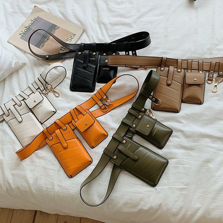 Designer- 패션 멀티 포켓 순수 가죽 허리 가방 캐주얼 메신저 어깨 가방 가슴 다기능 포켓