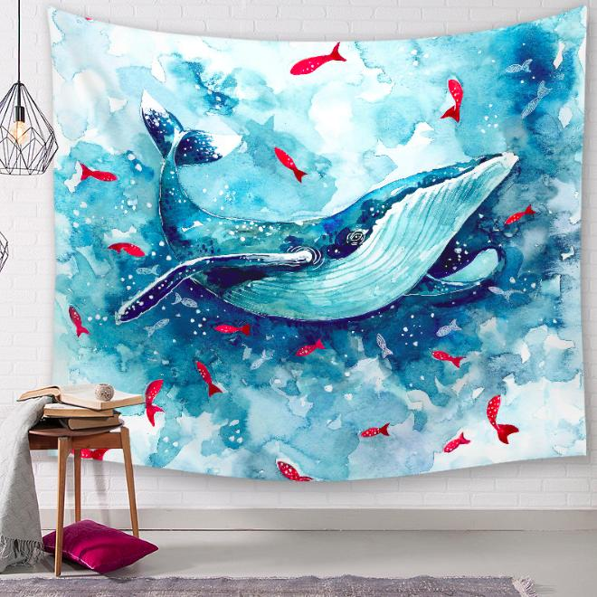 Penguin Whale Hedgehog Decorative Tapestries Bathroom Outdoor Tapestry Wall Hanging Sheets Picnic Cloth Home Decor Tablecloth