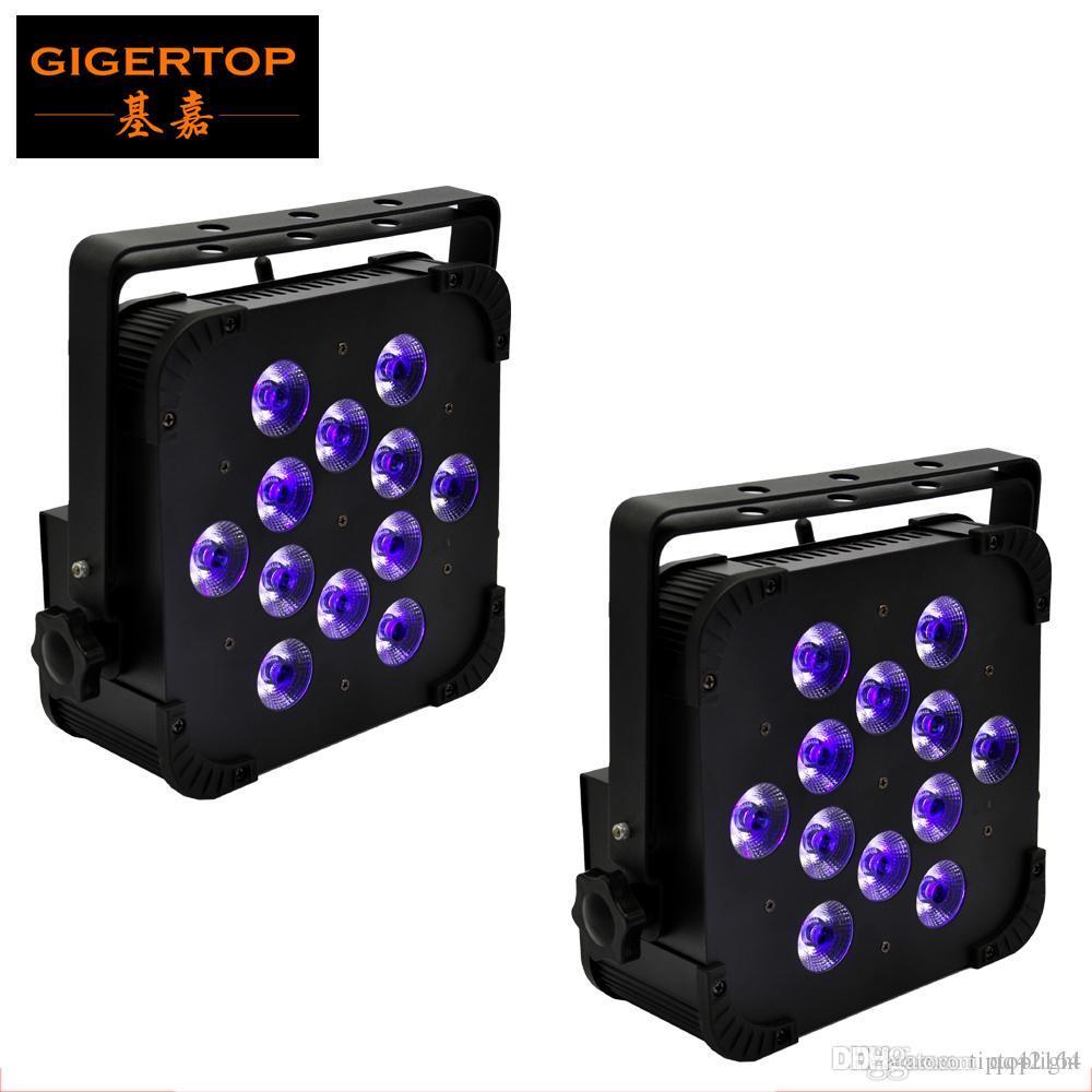 Gigertop New 12X18W Flat Iron Корпус Wireless 2.4G Stage Led Par Light Tyanshine RGBWA UV 6IN1 Цвет Birght Бесшумный Рабочая DMX512 AUTO X 2