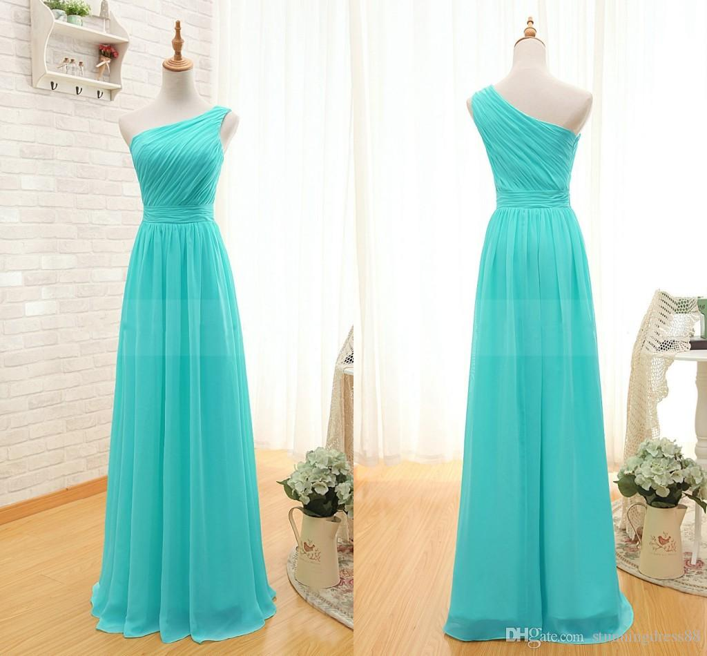 Turquoise bridesmaid dresses Chiffon Long Cheap One shoulder Pleated Empire Zipper Back Full Length Wedding Party Evening Dress Gowns