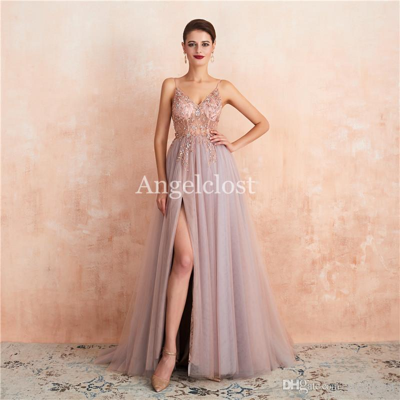 New Pink Prom Dresses Long Spaghetti Strap Backless Beaded Crystal Side Split Evening Party Dresses Formal Gowns 2019 Vestido De Fiesta