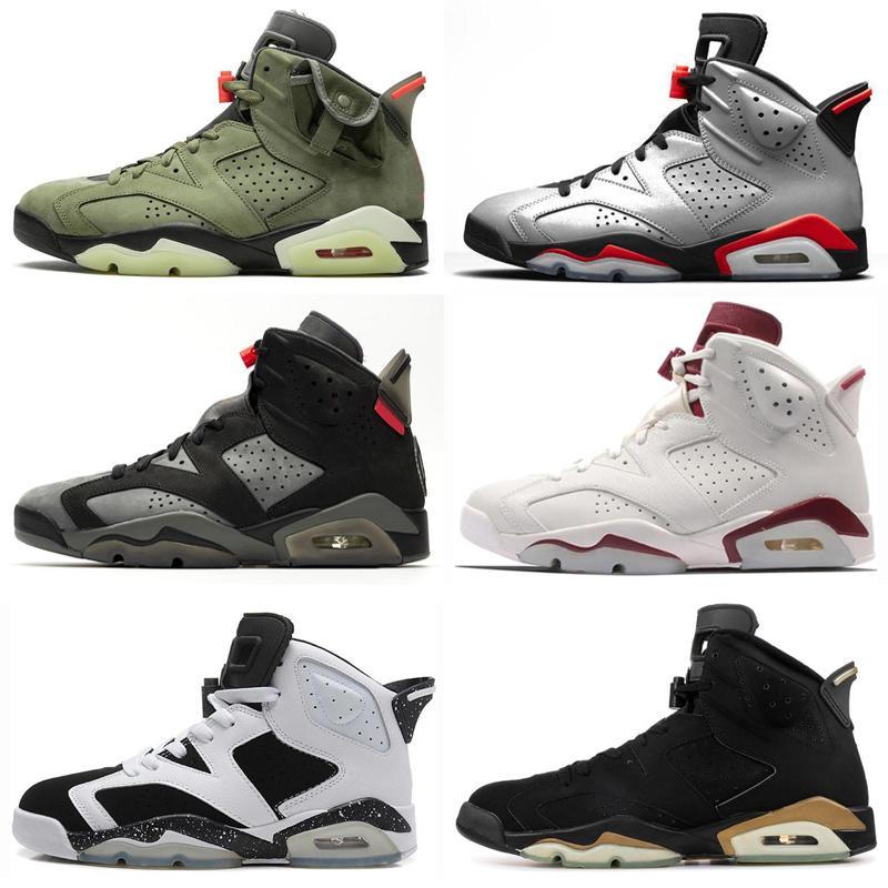 Travis Scott Jumpman 6 6s Bred Shoes Mens Basketball Tinker UNC Black Cat NakeskinJordâniaEsporte Sneakers instrutor Men Retros s