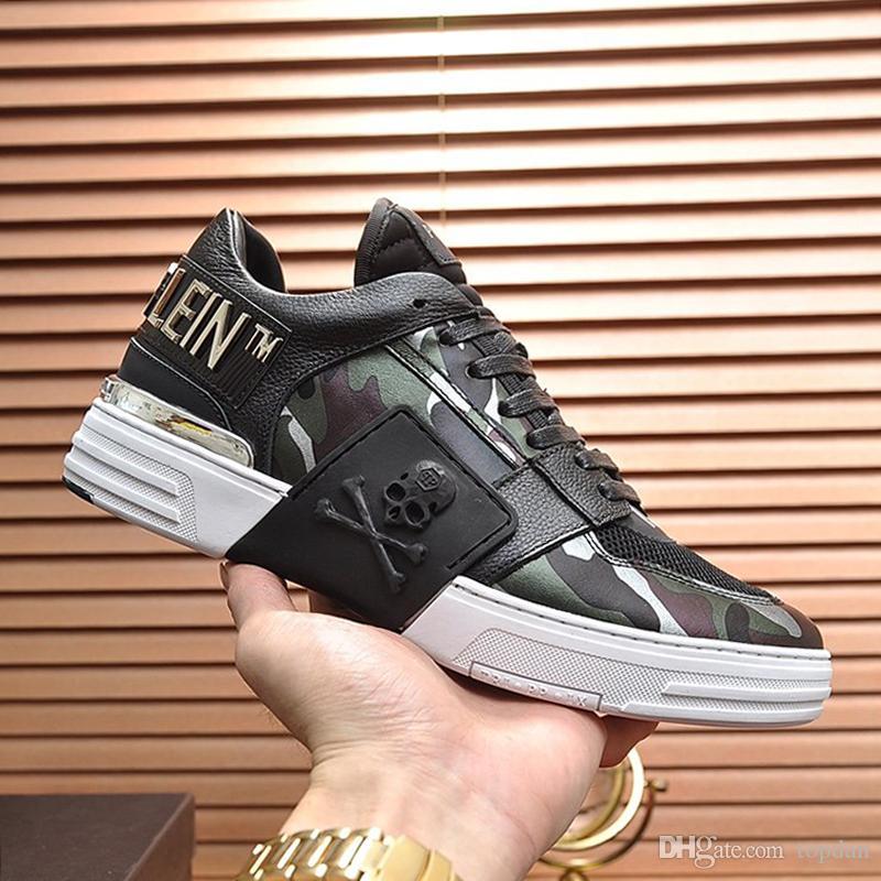 Philipp Plein Herren Schuhe Luxus-Gummisohle Phantom Kick-$ Lo-Spitze Tarnung Lace-Up Herren Sneakers Schuhe para hombre Herren Schuhe beiläufige Art Sale schnelles Schiff