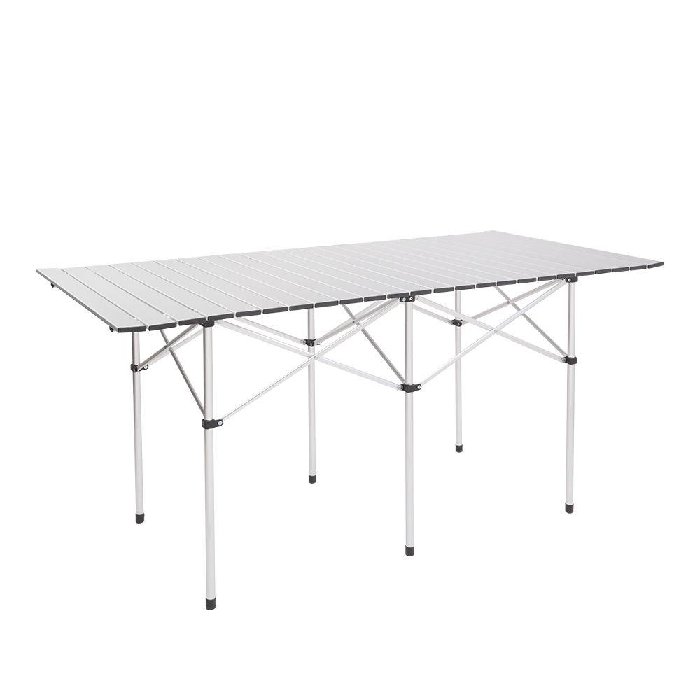 140 * 70 * 70cm rectangulaire Camping Table pliante Portable Camp Mobilier d'extérieur facile Assemblez table pour pique-nique W / Sac de transport