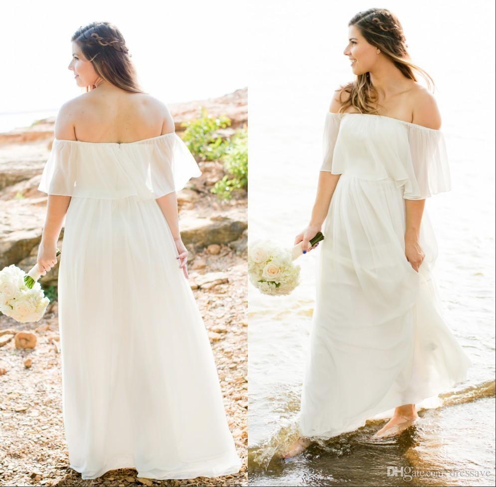 Praia 2019 vestidos de noiva boêmio fora do ombro mangas curtas plus size barato boho tribunal trem nupcial vestidos de casamento