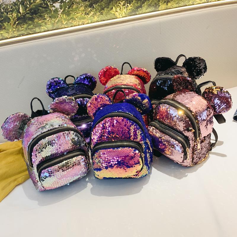 Çocuklar sırt çantası Koreli çocuklar 2019 sevimli sequins PU omuzlar çanta ebeveyn-çocuk sırt çantaları erkek kız öğrenci çantası moda lüks tasarımcı çanta