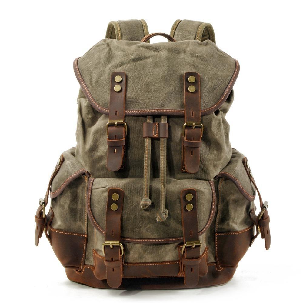 M272 Vintage toile Sacs à dos en cuir pour homme portable Daypacks imperméable en toile cirée Grand dos d'alpinisme Pack Voyage CJ191221