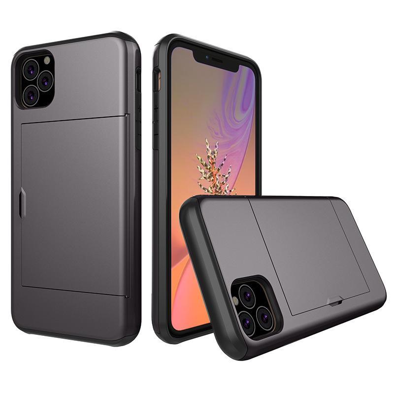 Rüstung Phone Cases für iPhone 12 Pro Max mini 11 X XS XR-Mappen-Kasten Dia-Karten-Slots-Halter-Abdeckung für iPhone 8 Plus