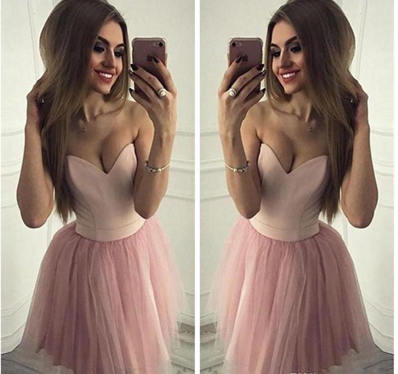 Sexy Schatz Kurz Erröten Rosa-Heimkehr-Kleider Tulle eine Linie eleganter Abschluss-Kleid-Cocktailparty-Kleid-Abschlussball-Kleider