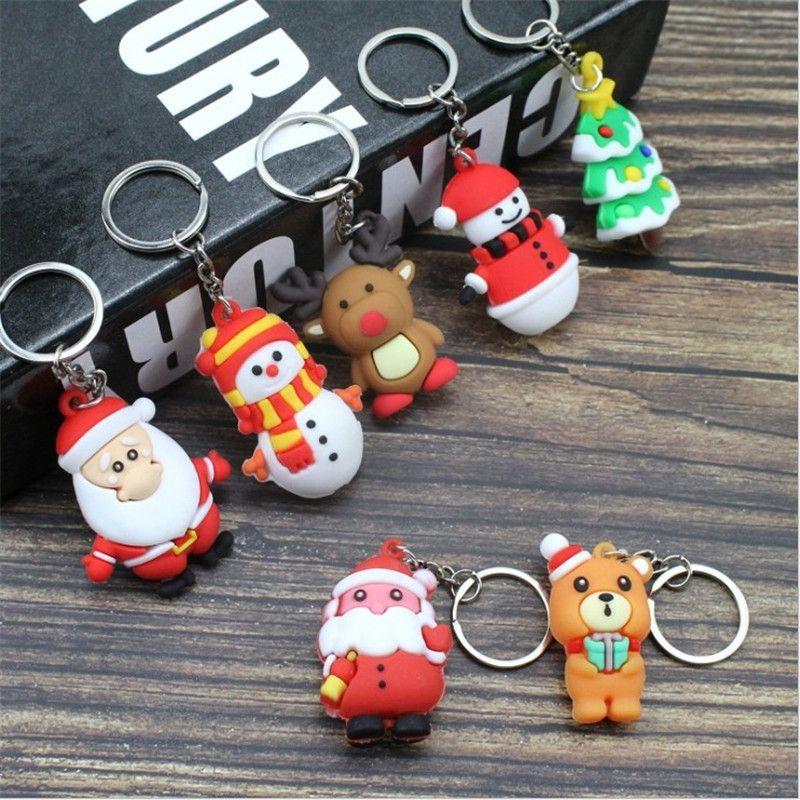 Christmas Santa Claus Keychain uomini e donne regalo di Natale ciondolo coppia portachiavi anello ornamenti portachiavi del fumetto