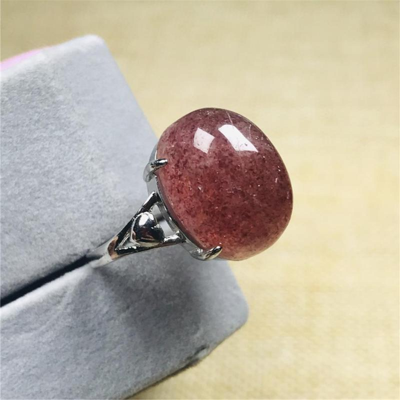 16x12mm Top Natural Red Strawberry Quartz Ring For Women Lady Crystal Silver Beads Stone Love Gift Adjustable Ring Jewelry