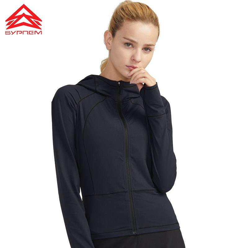 SYPREM course Veste femme de yoga de sport à capuche exercice d'entraînement sport manteau respirant à capuche veste d'entraînement de fitness, YT181085