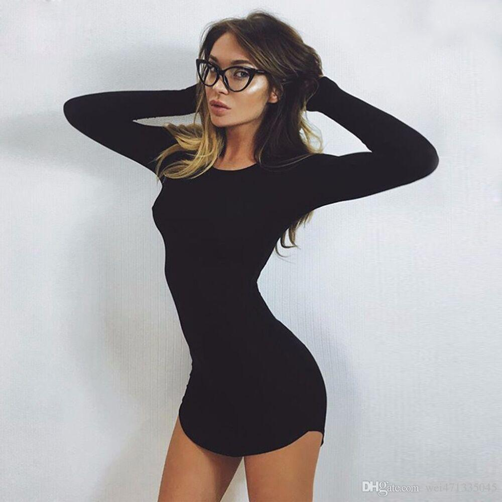 Großhandel Crazy14 Frauen Heißer Verkauf Frühling Mini Kleider Langarm  Unregelmäßige Feste Sexy Dress Enge Dünne Kurze Dress Mantel Sexy Engen  Dress