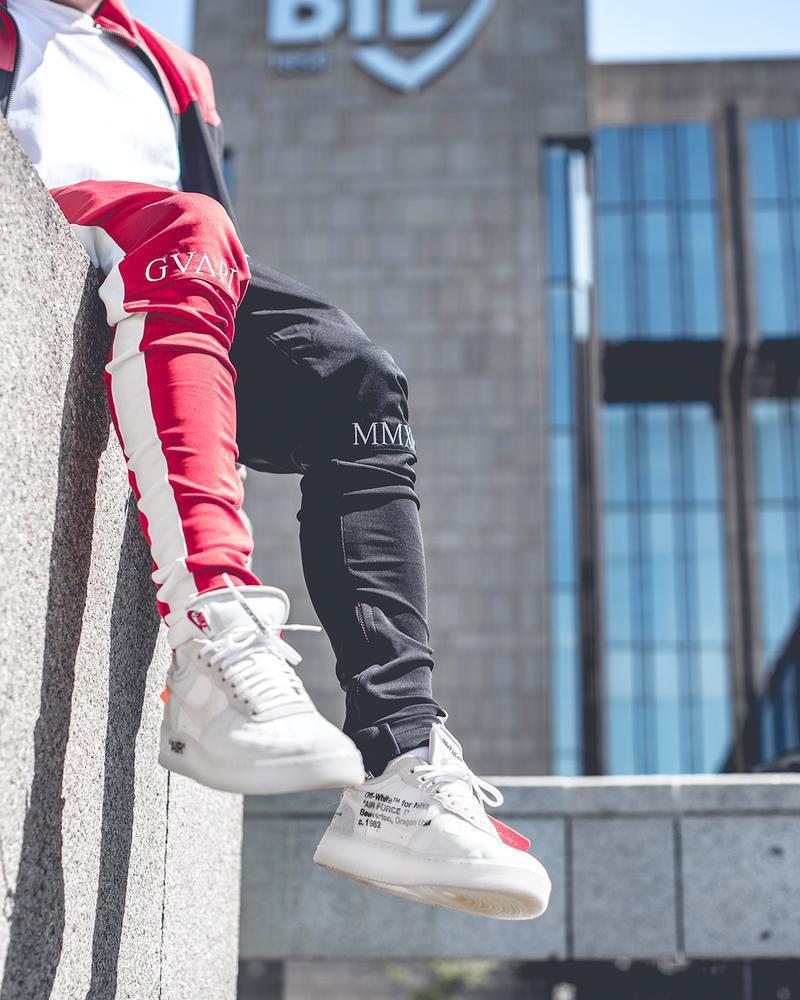 Mens del verano del remiendo diseñador de moda los pantalones de los pantalones de Ejecución con el lazo para hombre del diseñador de pantalones impresa letra de Deportes