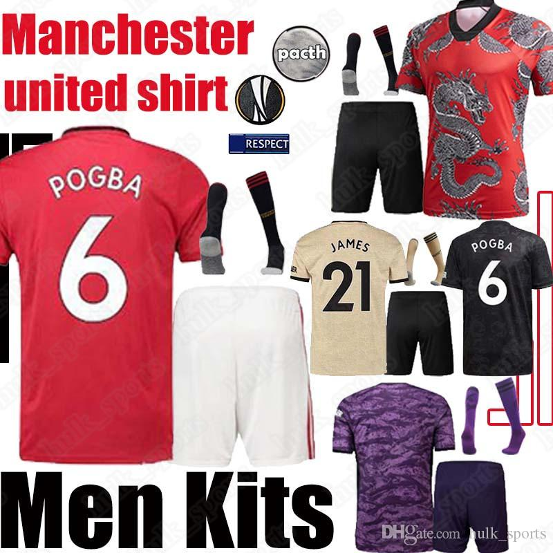 FC manchester BRUNO FERNANDES Pogba futebol Adulto Kit 2020 camisa de futebol Lingard Rashford unidos UTD 19 20 uniformes kit de futebol Define Socks