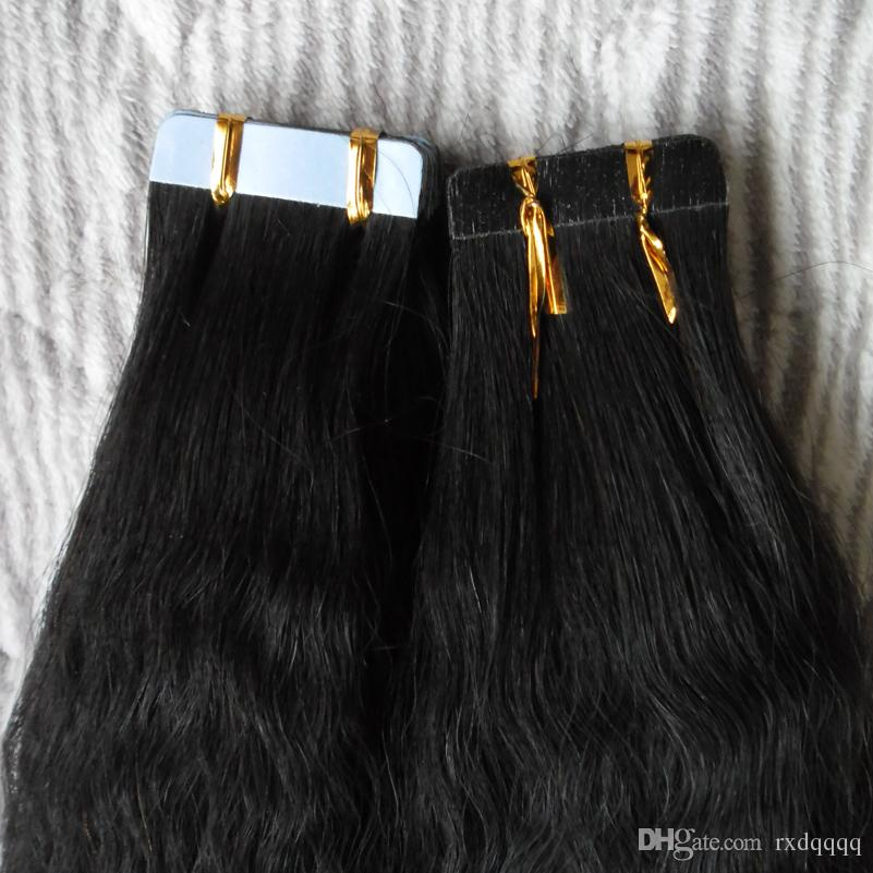 버진 이탈리아어 구이 테이프 머리카락 40 개 세트 / 굵은 구이 테이프 100g 세트 인간의 머리 익스텐션 100g 변태 스트레이트 처녀 머리카락