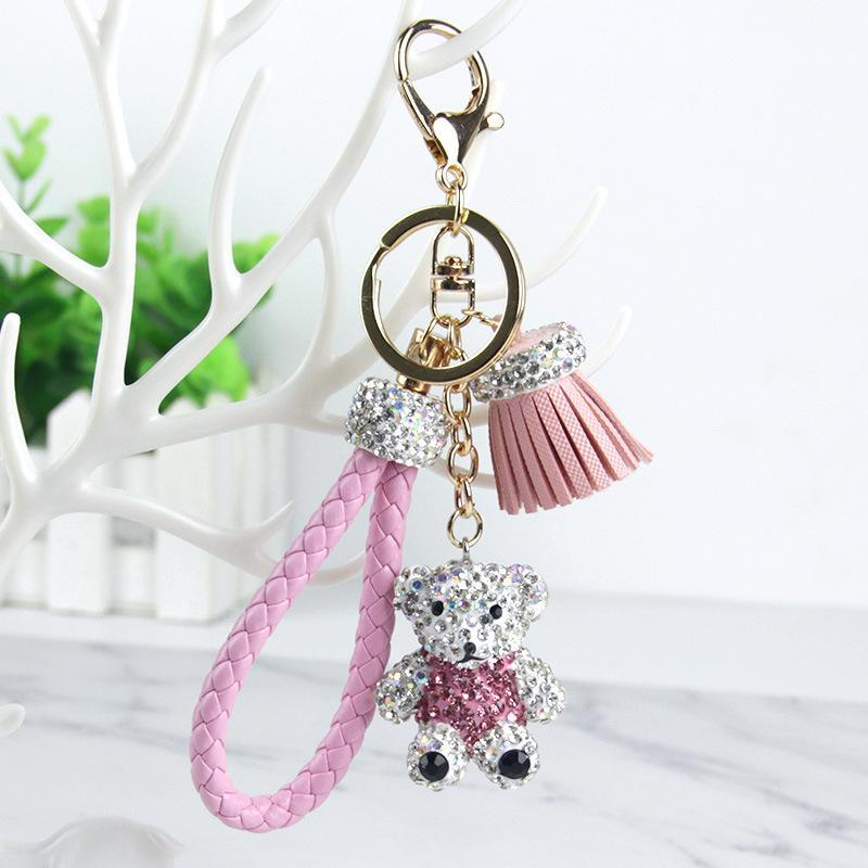 Women Purse Handbag Key Phone Chain Cute Bear Tassel Style Keychain Red Hot