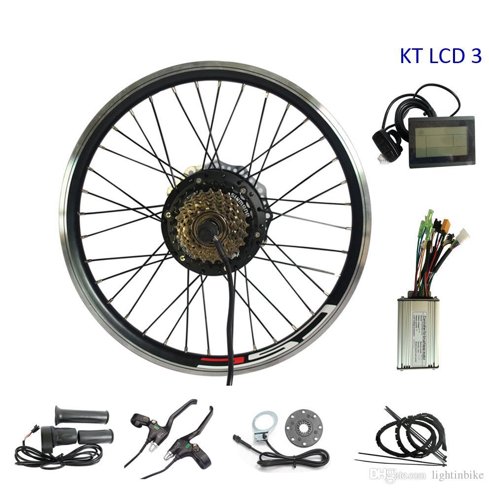 Kit de bicicleta eléctrica de 250 vatios con pantalla LCD KT Kit de conversión Ebike de 36 V con freno de disco, kit de asistencia de pedal eléctrico de 7 velocidades de rueda libre