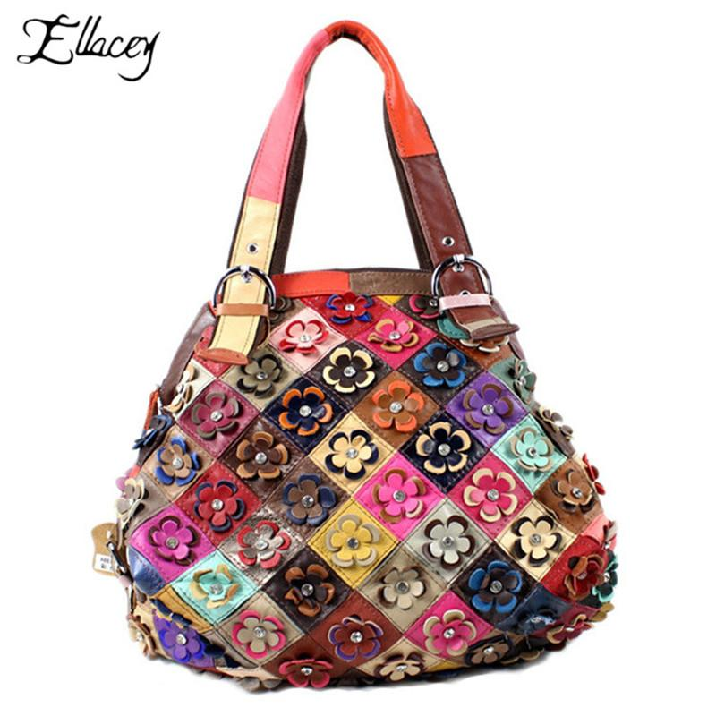 Echter Leder-Handtaschen Damen Sheepskin Patchwork-Beutel für Frauen 2019 Retro-Umhängetasche Multicolor-Blumen Großes Totes