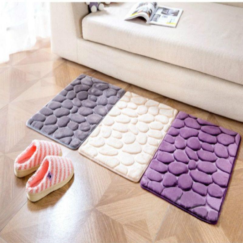 1X Fluffy Bathroom Rug Floor Mat Memory Foam Anti-slip Bath Toilet Plush Carpet