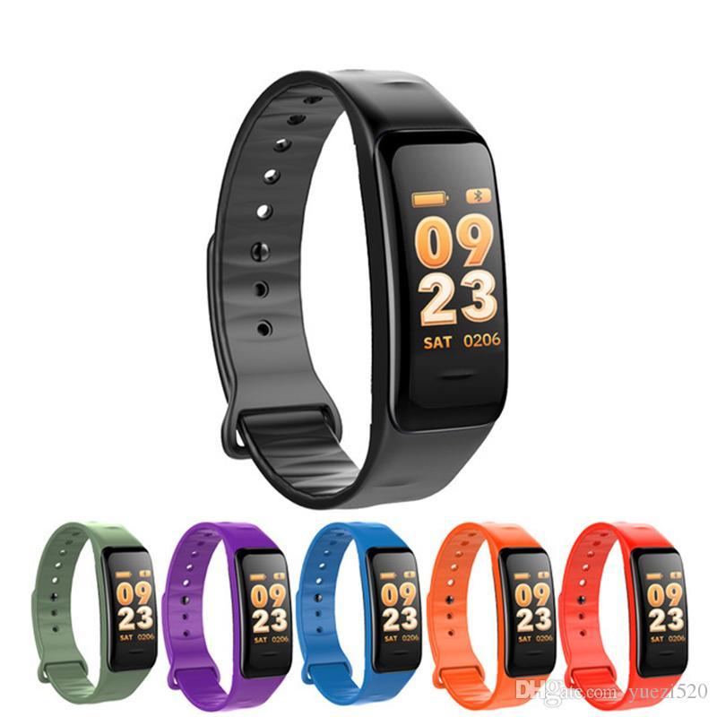 Tela C1S Bluetooth inteligente Cor do bracelete Pressão C1S Pulseira Heart Rate Monitor Sangue Medição de Fitness Rastreador