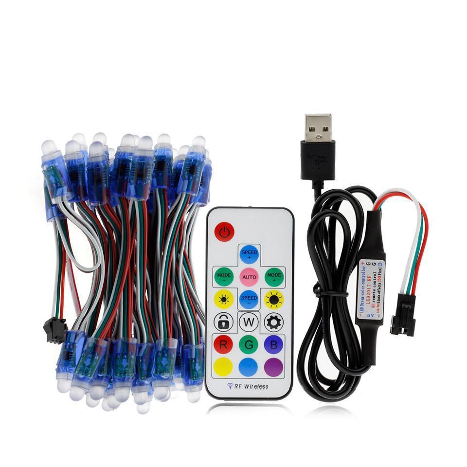RGB LED 모듈 IP68 방수 DC5V 풀 컬러 LED 픽셀 모듈 문자열 포인트 조명 50Pixels / 17key 컨트롤러와 조각