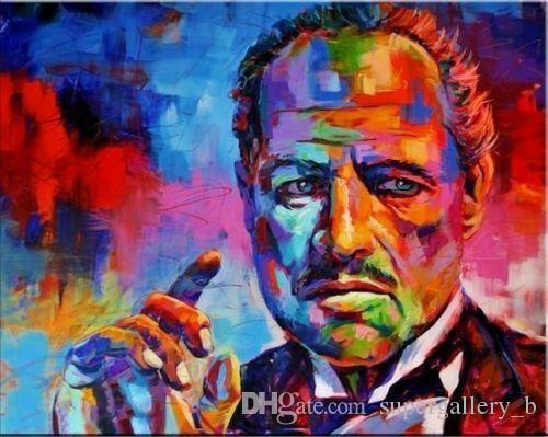 Yüksek Kalite Kanvas p189 On Wall Art Ev Dekorasyonu Boyama Baba portresi Handpainted HD Baskı Abstyract Graffiti Pop Art Oil