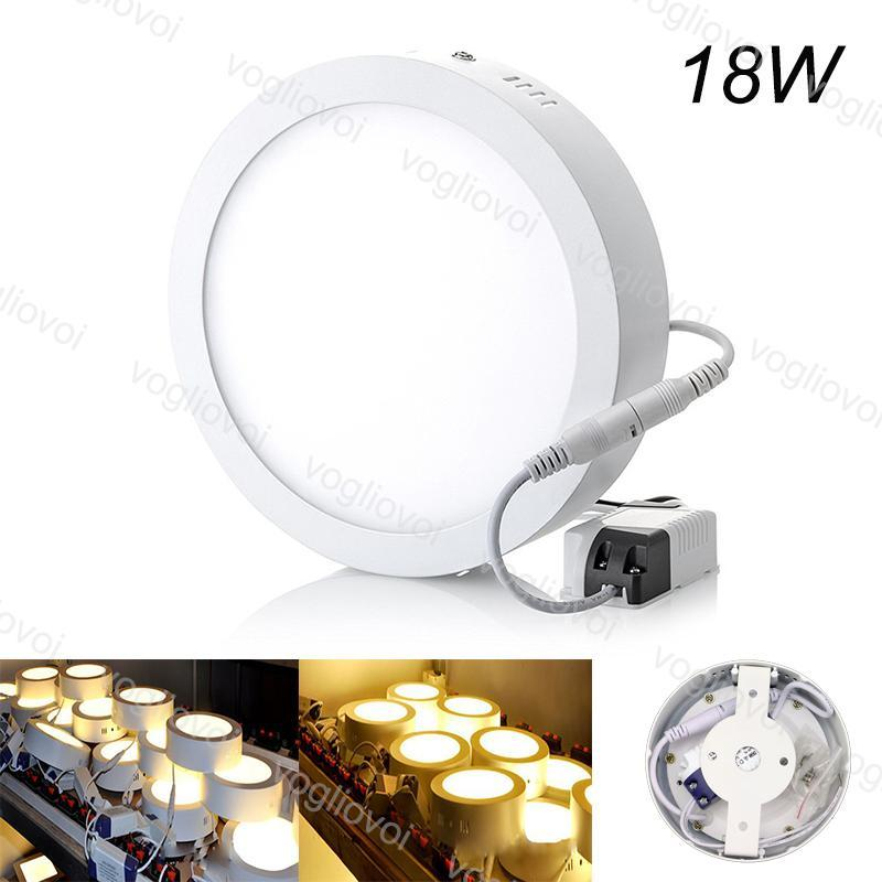 Painel Rodada 18W superfície montada Led Light 225 milímetros AC110V 240V alumínio PMMA Acrílico tampa lateral Emitting SMD2835 Branco Branco Quente DHL