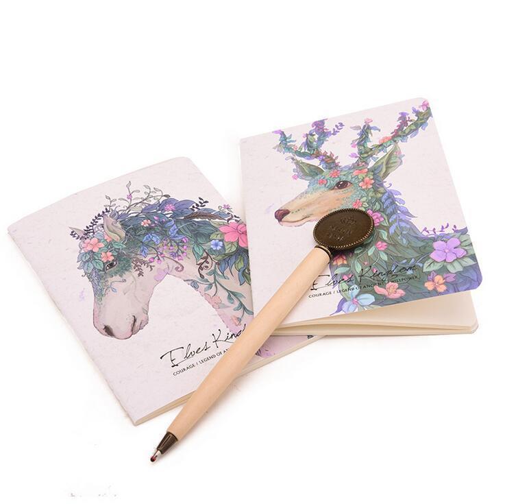 도매 - 요정 왕국 빈티지 동물 인쇄 소프트 카피 작은 크기의 휴대용 포켓 노트북 메모장 낙농 플래너 빈 내부 페이지 A6