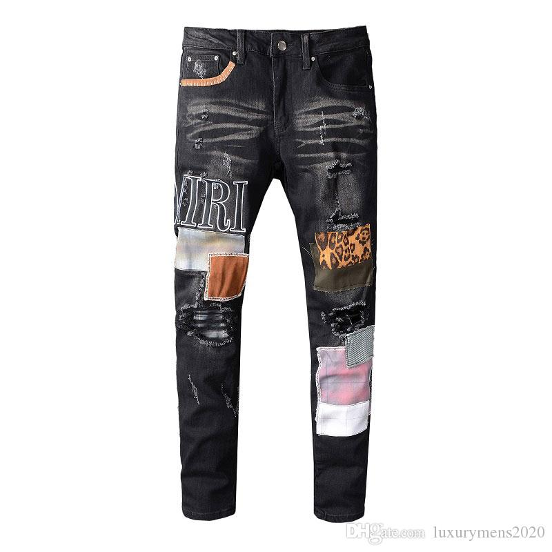 2018 Boys washed denim Jeans Mens spring badge Slim Denim Jeans  pants trousers