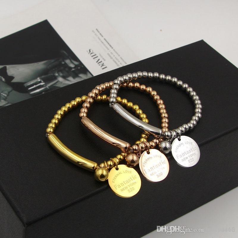 Luxuxschmucksachen Marke Pulseira Edelstahl fantastische Stahlkugel-Armband-Armband Rose Gold überzogen Liebe Tag Armband-Schmucksachen für Frauen