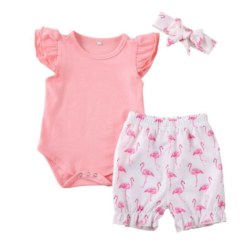 2020 Cute Fashion Newborn Baby Clothes Sets Flamingo Girls Outfit Princess Bodysuit Print Shorts Headband Sunsuit 3Pcs Set 0-24M