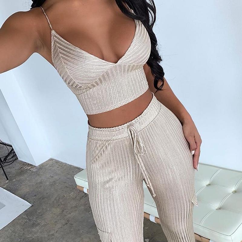 Женщины V-образным вырезом без рукавов Две набор посыпных часовых топов и тощих брюк Устанавливает Sexy Night Club Party Outfits Cousssuit
