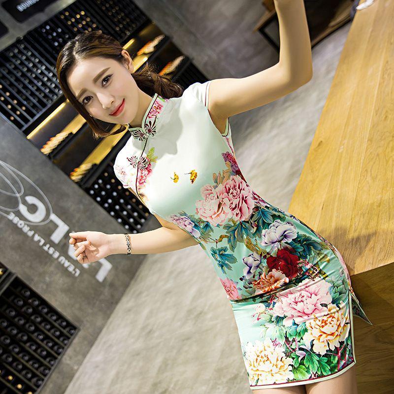Vêtements ethniques Traditionnel Daily Modern Cheongsam Robe chinoise Robe courte Mariage Qipao Mini Robe Chinoise Vestine Robes Orientales Qi P