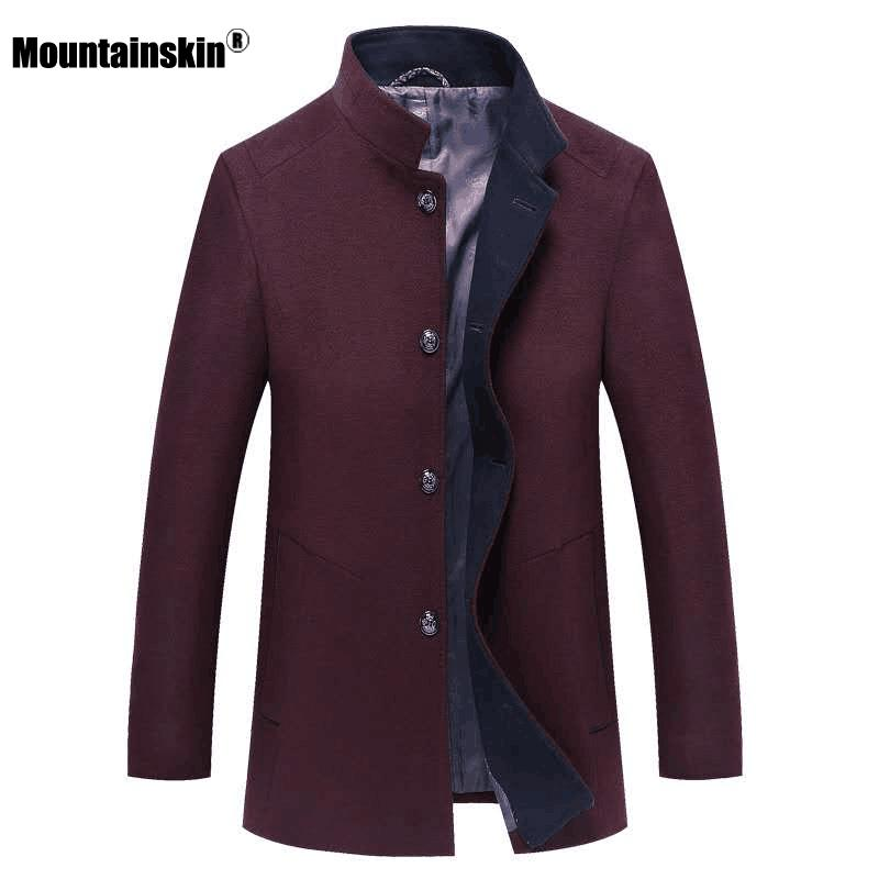 Mountainskin 2020 새로운 남성의 울 재킷 겨울 가을 남성 긴 슬림핏 코트 캐주얼 스탠드 칼라 솔리드 재킷 남성 SA937