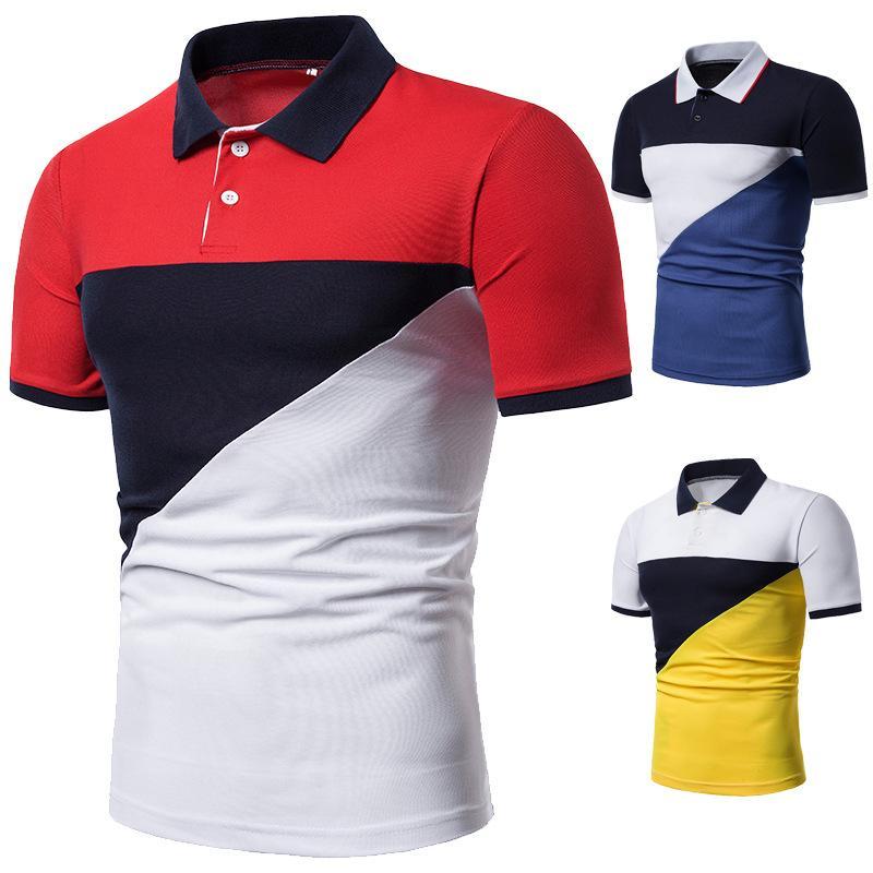 Mens Camisas de Polo de Verão 2019 Chegada Nova Mens Contraste Cor Polos Marca de Moda de Manga Curta Camisas Polo Dos Homens Da Marca Tops Tee
