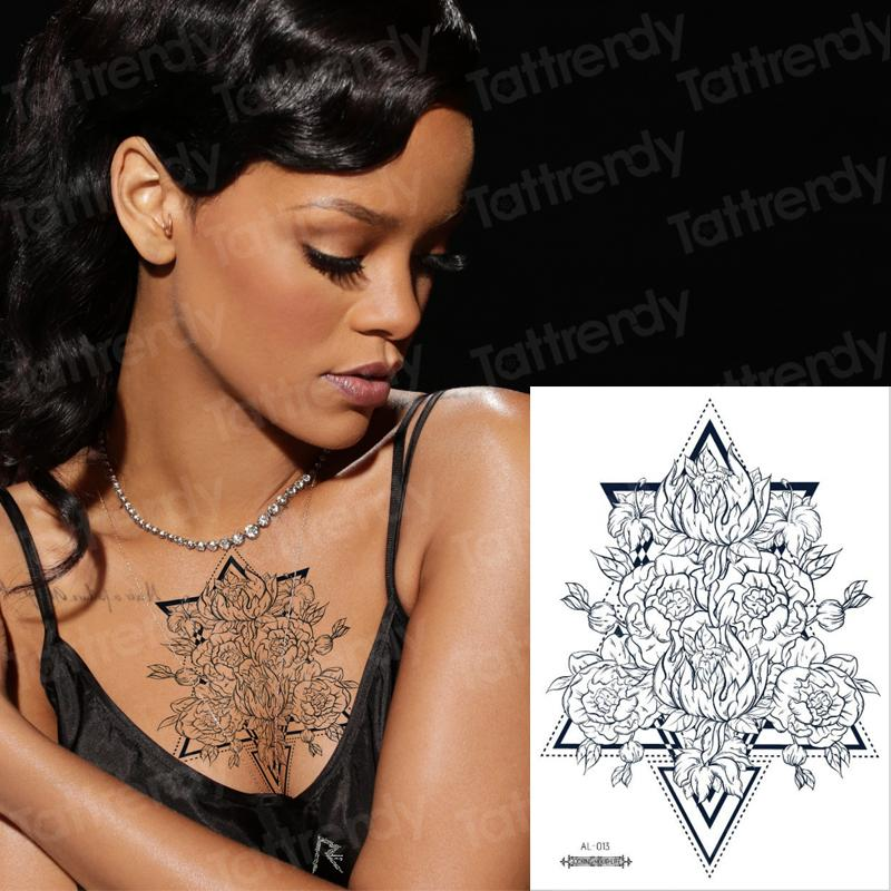 Under Breast Tattoo Sketch Flower Geometric Rose Tattoo Breast Mandala Lotus Sternum Temporary Black Fake Water Tatoo Tattoo Paper Create Your Own Tattoo From Eugenel 23 53 Dhgate Com