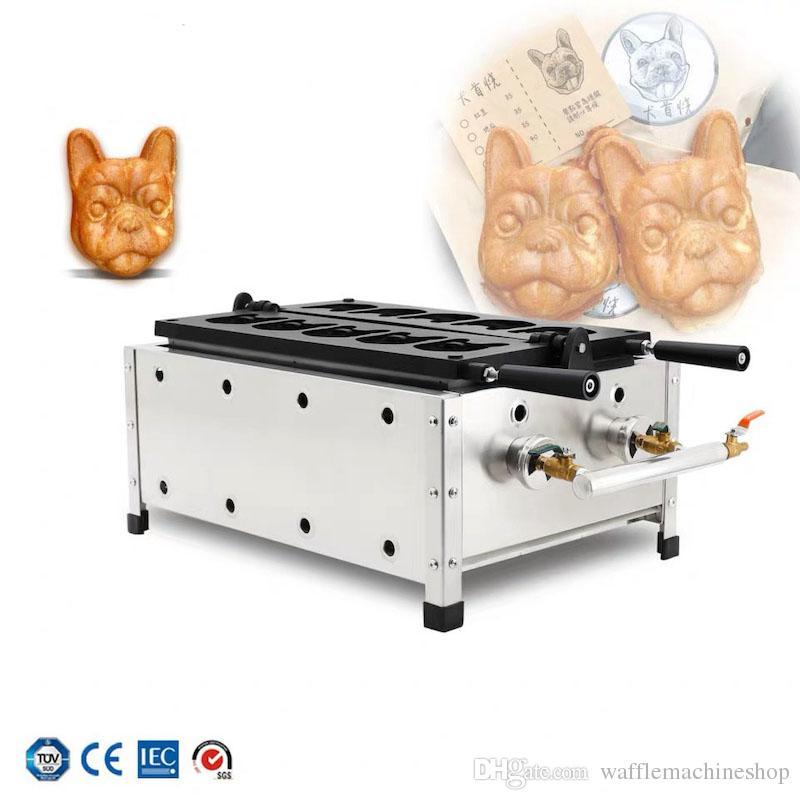 Ticari Gaz Bulldog Waffle Maker Hayvan Şekilli Waffle Yapma Makinesi Köpek Şekilli Kek Waffle Maker Snack Ekipmanları